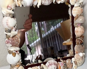 Sea Shell Art Square Mirror, Handmade, Home and Living,  Ready to Ship