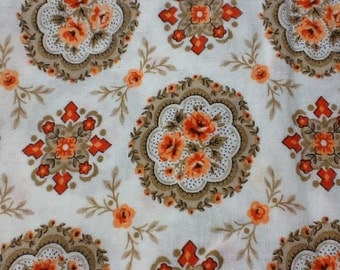 Cotton Floral white orange brown  45 inches wide - one yard