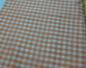 Cotton Orange and White checked  45 inches wide - by the yard