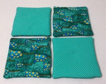 Fabric Reversible Coasters, Home Decor Decoration - Tourquoise Green Square Coasters Set of 4