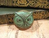 Owl Brooch, Woodland Brooch, Verdigris Owl, Owl Head, Green Owl, Backpack Pin, Woodland Pin, Owl Pin, Animal Brooch, Lapel Pin, Sweater Pin