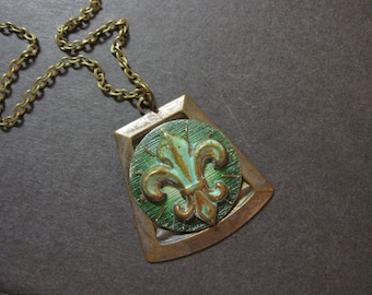 Fleur de Lis Necklace, Steampunk Necklace, Cosplay Necklace, Unique Steampunk, Rustic, Noir, Dark Green, Verdigris, OOAK, One of a Kind