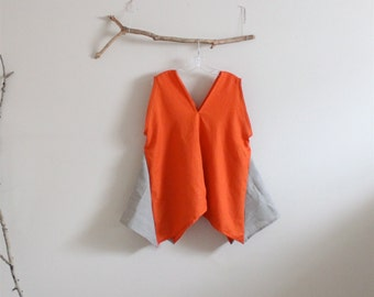 orange natural linen origami seam flare top size XL ready to wear