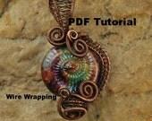 Wire Wrapping Tutorial, Wire Wrapped Pendant, Wire Tutorial, Pendant, Lesson, PDF File, Ammonite,T125 by CC Design