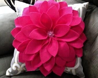 Pink Dahlia Decorative Pillow - Girls bedroom decor - Fuscia Felt, Grey and Yellow Pattern Pillow