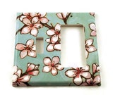 Decorative Switch Plate Wall Decor Combo Switchplate Rocker Light Switch Cover  in  Watercolor Blossoms  (170TRC)