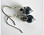 Sodalite Gemstone Earrings, .925 Sterling Silver Earwires, Dangle Earrings, Blue Earrings, Jewelry Accessories, Drop Earrings, 1087
