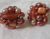 Vintage Pink Beaded Cluster Costume Jewelry Clip Back Earrings