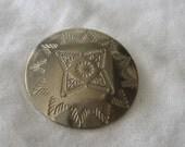 VINTAGE Southwestern Silver Metal BUTTON