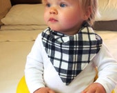 Bandana Bib | Toddler Bib | Hipster Baby | Navy Blue and Ivory Plaid