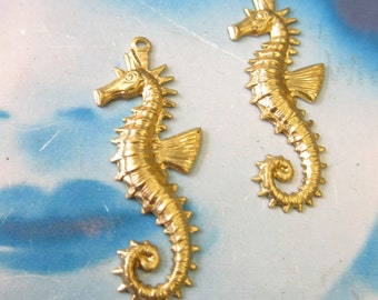 Natural Raw Brass Seahorse Charms 852RAW x2