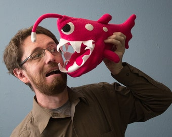 Small Angler Fish Plush - Hot Pink