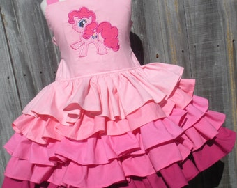 Made to Order Custom Boutique Pinkie Pie My Little Pony ruffled dress Girl Made to order 2 3 4 5 6 7 8
