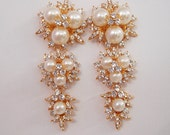 White Pearl Cubic Zirconia  Gold Plated Earrings, Bridesmaid, Wedding Gift Bridal Earrings