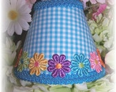 NEW Bright Blue & White Checks With or Without Colorful Applique Daisy's Gingham MINI Clip On Shade