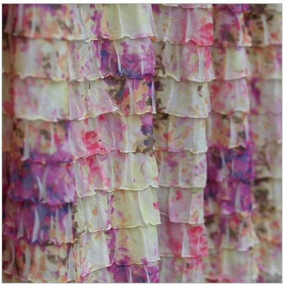 Items Similar To Ruffle Shower Curtain Pink Cream And Purple Floral Print Hookless Shower