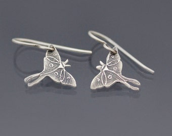 Luna Moth Earrings, sterling silver earrings, actias luna, dainty earrings, luna moth jewelry, nature jewelry