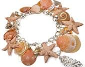 Peach Shell Bracelet- Freshwater Pearl Starfish Bracelet- Florida Shell Bracelet- polymer clay jewelry- Trendy Bracelet