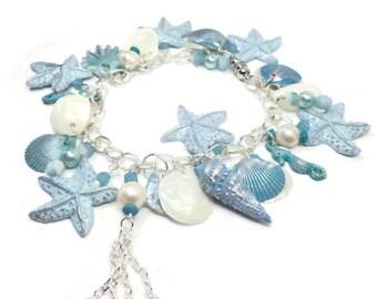 Starfish & Seahorse Charm Bracelet- Florida Shell Bracelet- polymer clay jewelry- Pearl bracelet- Aquamarine