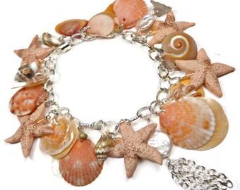 Peach Shell Bracelet- Freshwater Pearl Bracelet- Florida Shell Bracelet- polymer clay jewelry- Tassel Bracelet