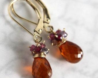 Spessartite Garnet Earrings with Tourmaline in 14K Solid Gold