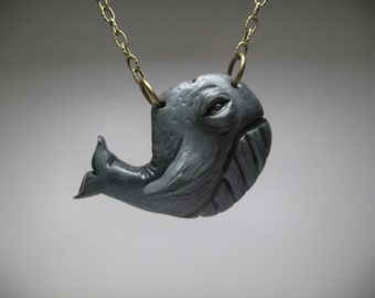 Whimsical Whale Necklace - Wearable Art Sculpture - Polymer Clay Jewelry