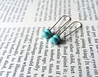 Minimalist Sterling Silver and Turquoise Earrings