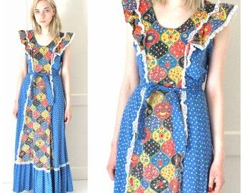 1970s BOHO hippie dress 70s vintage retro FOLK patchwork Le Voys maxi dress small medium