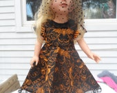18'' doll outfit dress and hat halloween halloween orange black spider witch