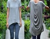 Ripple  - asymmetrical back layering top / asymmetrical blouse / draping tunic (Y1518)