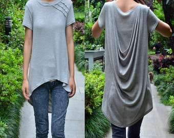 Ripple  - asymmetrical back layering top / asymmetrical blouse / draping tunic (Y1518)
