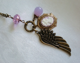 oO MY ANGEL Oo brass wing, pink cameo, briolette charm necklace