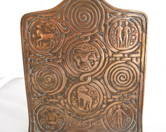 Pair of Tiffany Studios New York 1091 Bronze Zodiac Bookends Antique