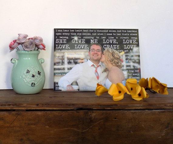 Wedding Gift First Dance Lyrics/ Custom Canvas / Your Wedding Photo with your Lyrics/ Vows/ Love Story 18X24 Geezees