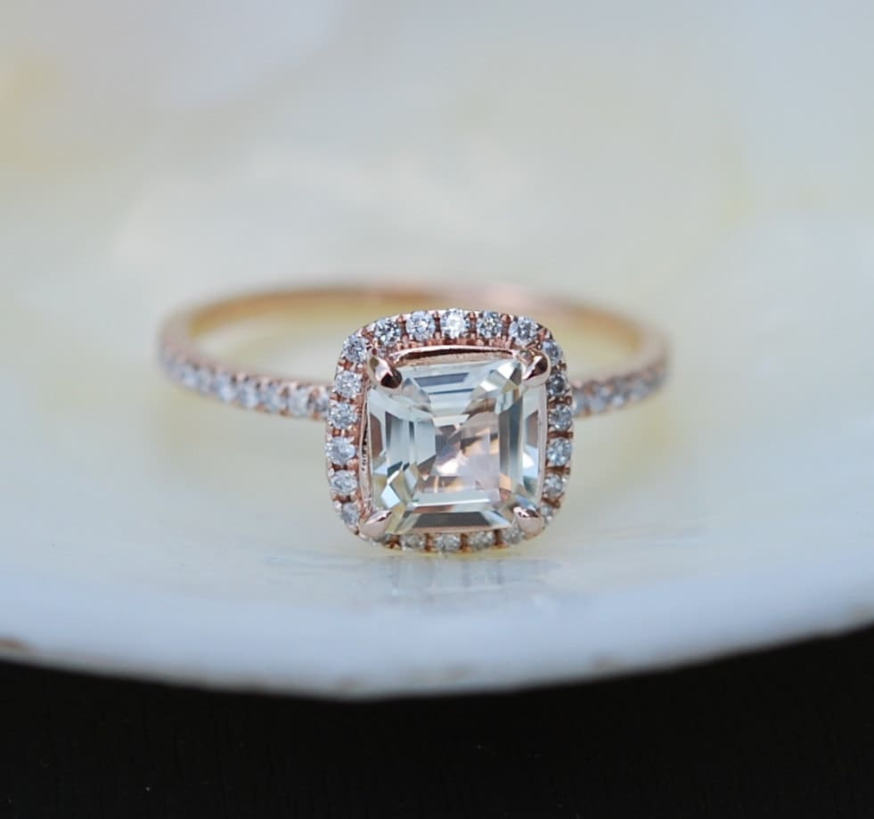 Rose Gold Engagement Ring. Champagne Sapphire Ring. 1.02ct