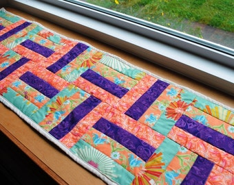 Handmade Quilted Table Runner Purple Orange Green