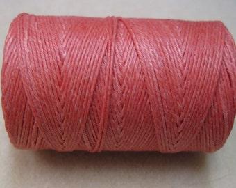 Salmon Waxed Linen Cord 4 ply 10 yards for Macrame Kumihimo Knotting