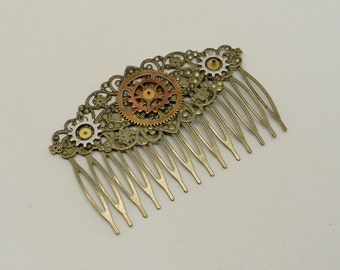 Steampunk jewelry Steampunk brass hair comb.