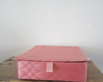 Pink Satin Quilted Case Hankies / Satin Quilted Glove Box Storage Jewelry Organizer Box Vanity Top Display Holder - Lidded - Shabby chic