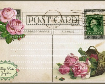 Large digital download Vintage Postcard collage Pink roses BUY 3 get one FREE single image ECS