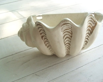Vintage Plaster Chalk Ware Seashell Wall Pocket Planter