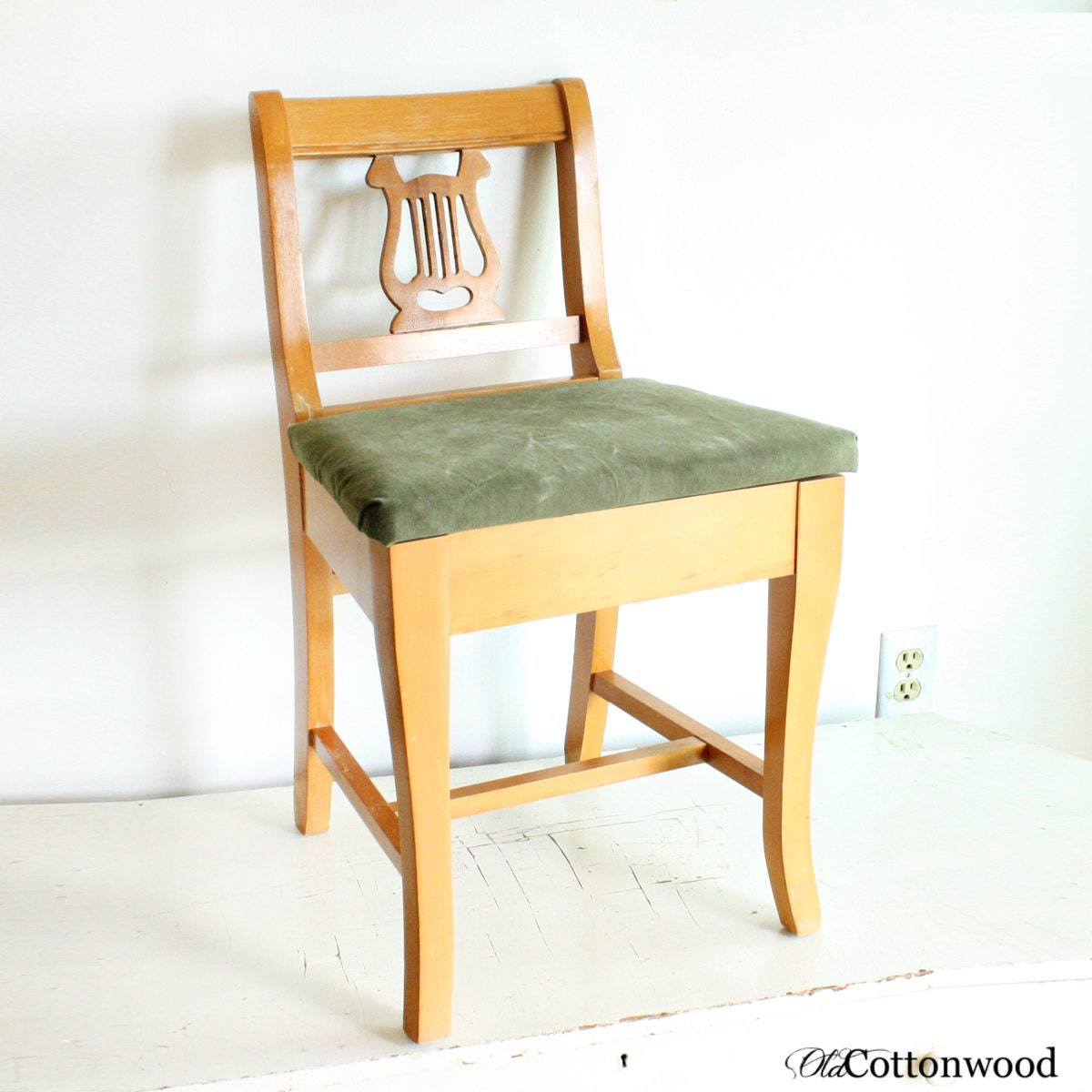 Vintage lyre chair music chair wood lyre chair by