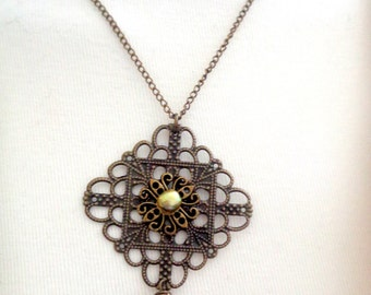 Filigree Necklace, Square Necklace, Antique Brass Necklace SALE