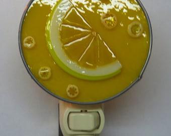 Night Light - Lemon Nightlight - Glass Lemon Night Light - Fused Glass Nightlight