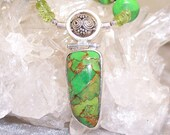 CILANTRO - Necklace in Mohave Green Turquoise, Peridot, and Sterling Silver