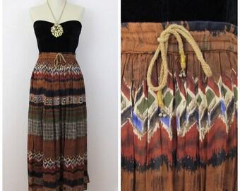90s ZERO Neutral Tone Indian Cotton Striped Skirt, Adjustable Waist, Size Medium to 2X