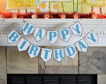 Happy Birthday party pennant banner, rustic outdoor farm barn country backyard forest hippie beach celebration decor decorations