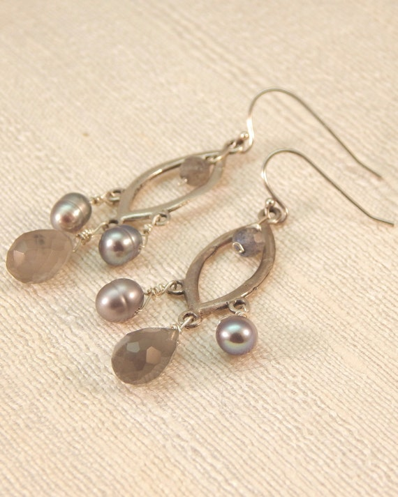 Eyelet Chandelier Earrings Labradorite STERLING SILVER