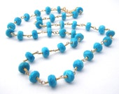 Turquoise Necklace, Rosary Style, Robin Egg Blue, Gold, Southwestern, Turquoise Jewelry, December Birthstone
