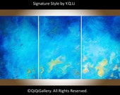 """72""""x36"""" large oil painting Blue abstract seascape wall art home decor wall decor canvas art """"The Ocean"""" by QiQiGallery ready to ship"""